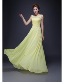 Yellow lace appliques bridesmaid dresses SB-140
