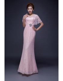 Pink lace bridesmaid dresses with cape SB-149