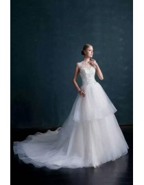 Gorgeous illusion crystals beaded sweetheart court train layered skirt wedding dresses  MS-605