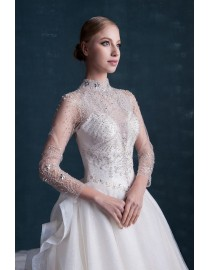 Gorgeous high collar crystals beaded accent long sleeves illusion A-line chapel train wedding dresses WX-009