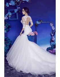 Gorgeous sweetheart illusion lace appliques half sleeves key hole at back fit and flare mermaid court train wedding dresses HB-725
