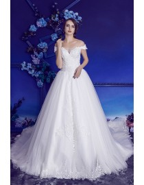Gorgeous off shoulder v-neck lace appliques chapel train A-line wedding dresses HB-721