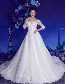 Gorgeous off shoulder half sleeves lace appliques crystals beaded chapel train A-line lace wedding dresses HB-720