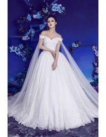 Gorgeous sweetheart off shoulder lace court train wedding dresses 2017 HB-358