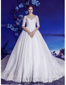 Stunning sweetheart jewel neckline half sleeves pearls beaded lace court train A-Line wedding dresses 2017 HB-613