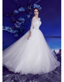 Gorgeous long sleeves scoop neckline beaded backless ball gown lace wedding dresses 2017 BL-5037