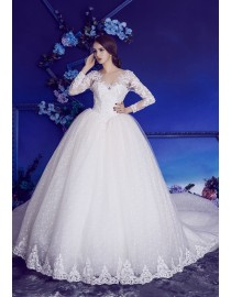 Gorgeous long sleeves lace appliques beaded basque ball gown backless lace wedding dresses 2017 HB-224
