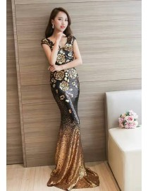 Christmas promotion sequins sparkly blingbling mermaid bridesmaid annual party evening prom dresses instock