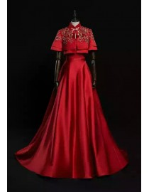 Unique two pieces China style embroidery sweeping train couture red prom dresses 2017 LX511