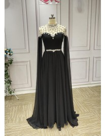 2019 new design black chiffon long sleeves high collar sliver crystals beaded prom engagement mother of the bride Muslim dresses