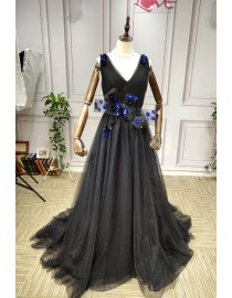 2019 new design v neck sequins 3D flowers embellishment black prom dresses