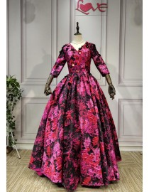 2019 new design long sleeves 3D flowers embellishment jacquard fabric black and fuchsia ball gown prom dresses
