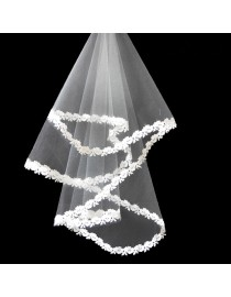 Appliques bridal wedding elbow veil WV-001