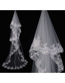 Lacework appliques bridal wedding chapel veil WV-003