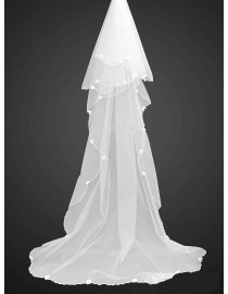 Lacework appliques two layer bridal wedding chapel veil WV-006