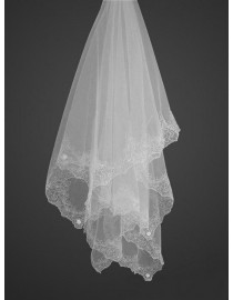 Lacework appliques two layer bridal wedding finger veil WV-007