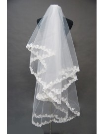 Lacework appliques  three layer bridal wedding finger veil WV-009