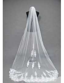 Lacework appliques bridal wedding cathedral veil WV-010