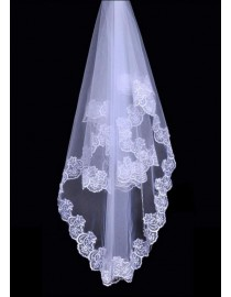 Lacework appliques bridal wedding elbow veil WV-019