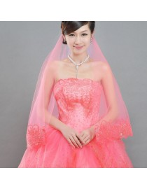 ribbon hem bridal wedding finger veil WV-037