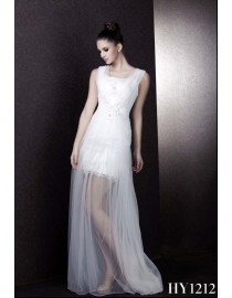 2013 summer sheer square neckline ivory white short two ways to wear wedding gowns HY1212