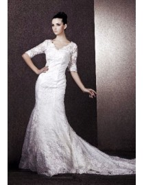 Sheer short sleeves v-neckline ivory white lace sheath court train vintage wedding dresses BL-019