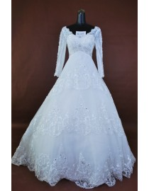 Empire waist long sleeves ivory white lace bridal dress bl-1109
