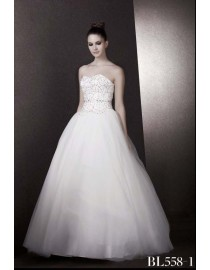 sweetheart a-line corset puff ivory white tulle floor length ball bridal dresses rhinestones crystals beaded bodice BL-558