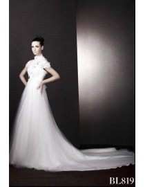 Cap sleeves high collar ivory white lace and tulle court train vintage wedding dresses BL-819