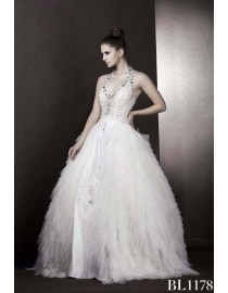 Sexy v-neck luxurious rhinestones beaded halter tulle corset sheer waist ball wedding gowns BL-1178