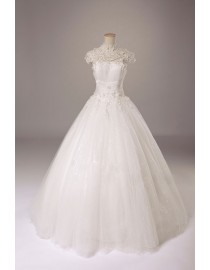 Sheer cap sleeves lace bal gowns wedding dresses with handmade flowes and pearls embellishment wd-268