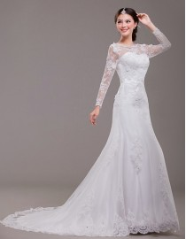 Crew neck lace appliques tulle sheer long sleeves ivory white court train wedding gowns  ls-061