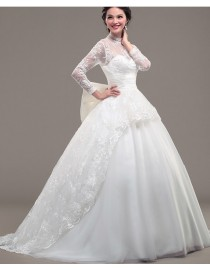 High collar lace appliques tulle sheer long sleeves ivory white court train wedding gowns  ls-063