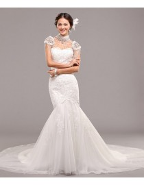 Sweetheart mermaid tulle lace appliques ivory white court train trumpet wedding gownsTB-001