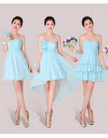 Six different styles with green blue  color chiffon bridesmaids dresses BMD-029