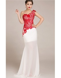 one shoulder embroidery sexy red and white sheer wedding evening party lace dresses LS-002