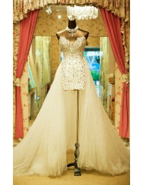 Hi -Lo sexy luxurious rhinestones beaded sweetheart short front and long back detachable train ivory white court train wedding gowns HL-001