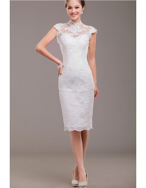 '50s summer cap sleeve high collar ivory white lace tea length backless wedding gowns 2014 TB-004