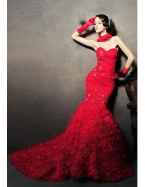 Sweetheart trumpet mermaid rosettes floral skirt red organza wedding dresses gowns 2014 MTF-027