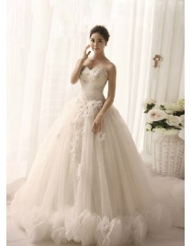 Sweetheart strapless corset tulle a line  lace appliques sequins and pears beaded court train floral hem TB-022