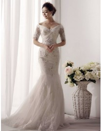 V-neck off shoulder half sleeve tulle mermaid lace appliques sequins and pears beaded court train wedding dresses TB-064
