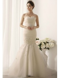 Sweetheart pleated mermaid organza court train wedding dresses with handmade flowers embellishment TB-063