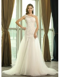 One shoulder sheer strap sweetheart corset tulle and lacework wedding dresses 2014 TB-062