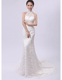 Halter lace sheath a line court train wedding dresses with rhinestones beaded satin waistband and backless TB-025