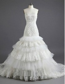 Sweetheart sequins beaded tulle and lace appliques layered drop waist trumpet bloom chapel train wedding dresses tw-016