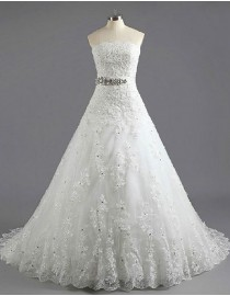 Strapless tulle a-line sequins beaded lace appliques court train wedding dresses with rhinestone waistband tw-017